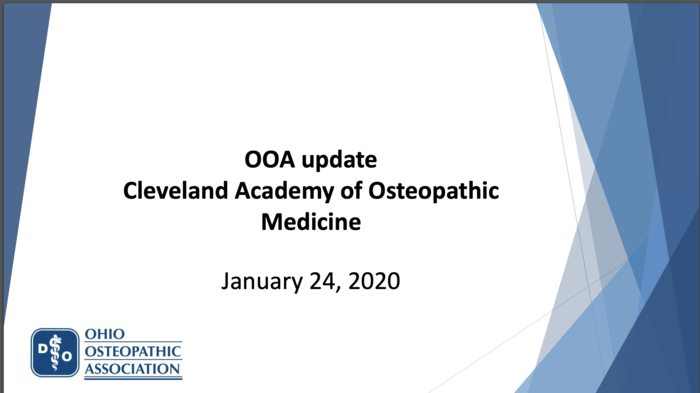 OOA Update; Cleveland Academy of Osteopathic Medicine