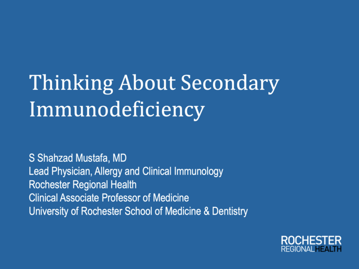 Thinking About Secondary Immunodeficiency