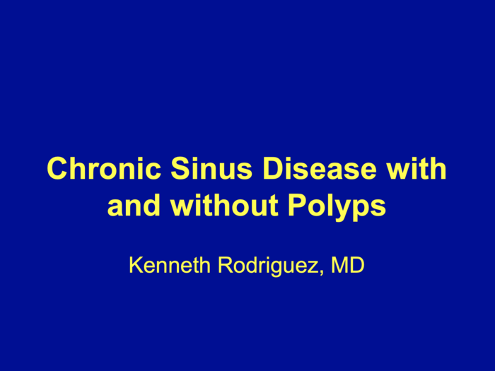 Chronic Sinus Disease with and without Polyps