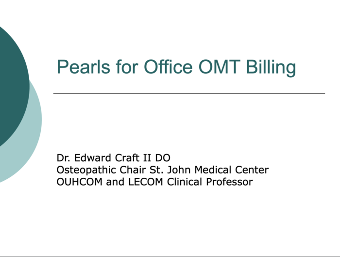 Pearls for Office OMT Billing