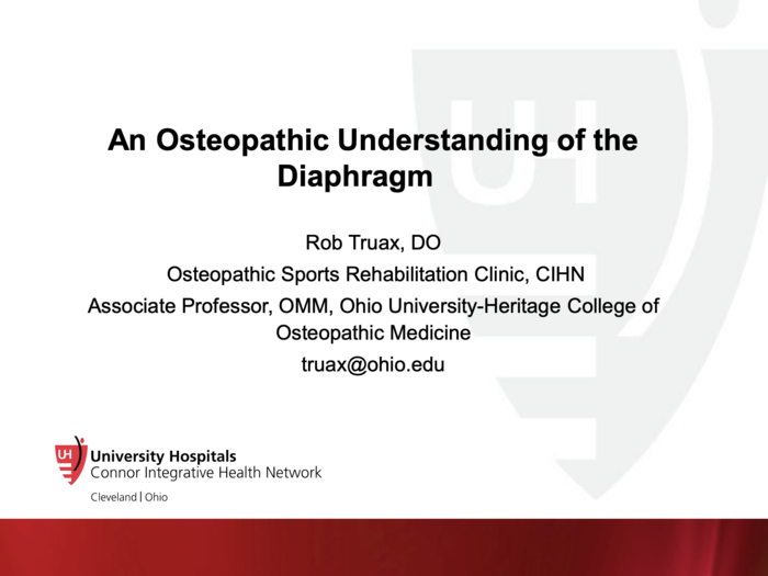 An Osteopathic Understanding of the Diaphragm
