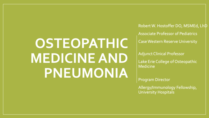 Osteopathic Medicine and Pneumonia