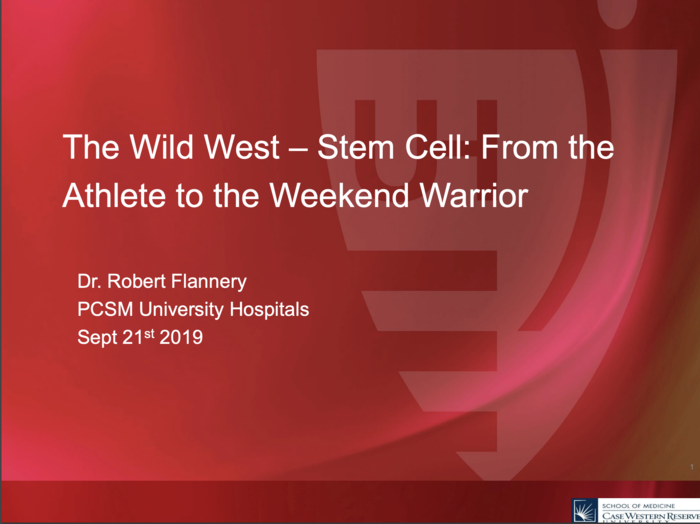 Stem Cell: From the Athlete to the Weekend Warrior