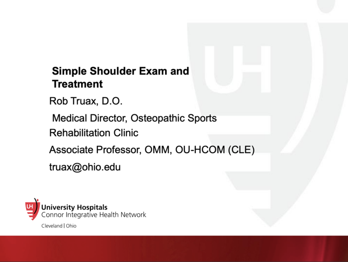 Simple Shoulder Exam and Treatment