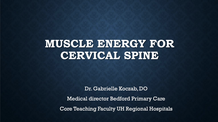 Muscle Energy for Cervical Spine