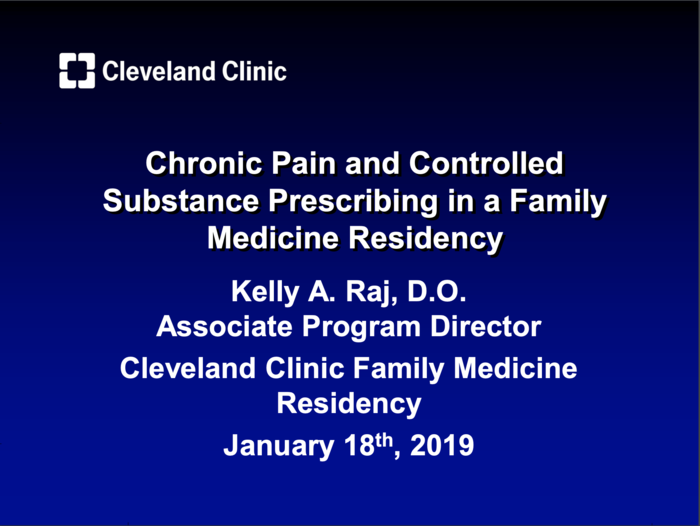 Chronic Pain and Controlled Substance Prescribing in a Family Medicine Residency