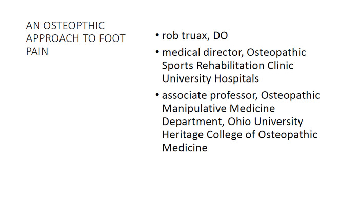 An Osteopathic Approach to Foot Pain
