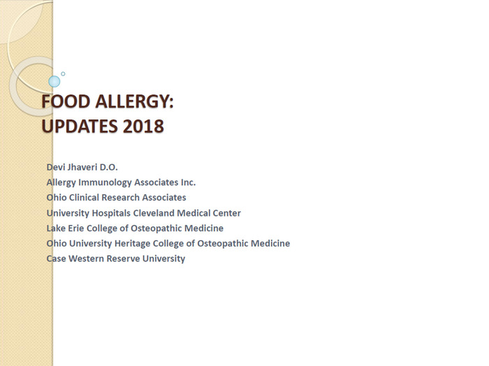 Food Allergy: Updates 2018