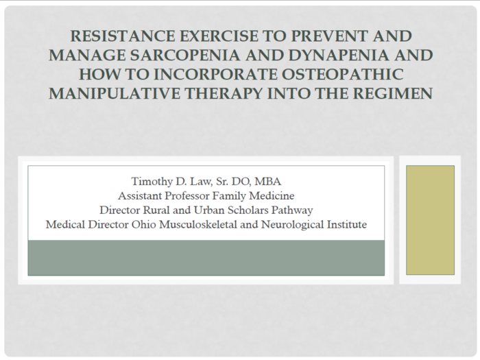 Resistance Exercise to Prevent & Manage Sarcopenia & Dynapenia