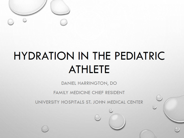 Hydration in the Pediatric Athlete