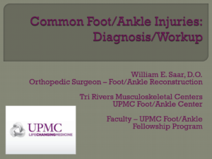 Common Foot/Ankle Injuries: Diagnosis/Workup
