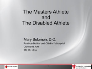 The Masters Athlete and the Disabled Athlete