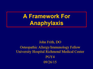 A Framework for Anaphylaxis