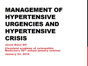Management of Hypertensive Urgencies and Hypertensive Crisis