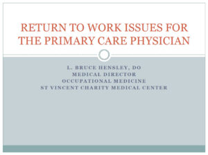 Return to Work Issues for The Primary Care Physician