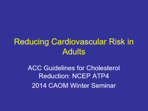 Reducing Cardiovascular Risk in Adults