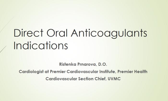 Oral Coagulant Indications