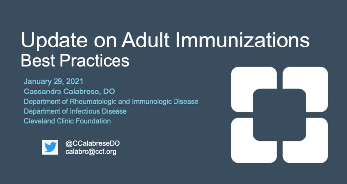 Update on Adult Immunizations