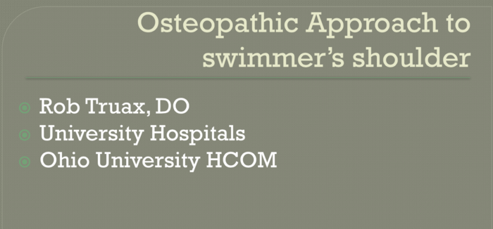 """Osteopathic Approach to """"Swimmer's Shoulder"""""""